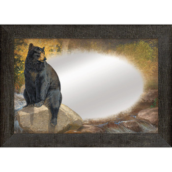 A Paw that Refreshes Black Bear Wall Mirror with Wood Frame