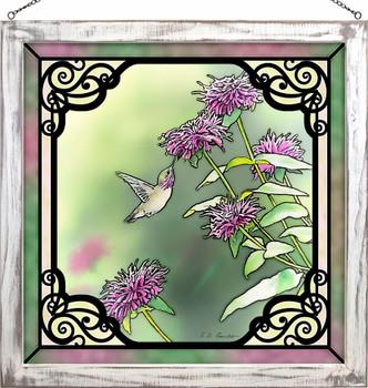 "20"" Calliope Hummingbird in Bee Balm Stained Glass Wall Art"