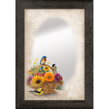 A Summer Bouquet Birds and Flowers Wall Mirror with Wood Frame