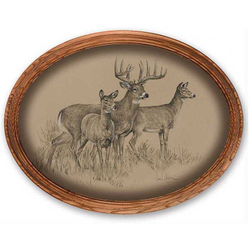 Whitetail Deer Oak Framed Oval Canvas Giclee Art Print Wall Art