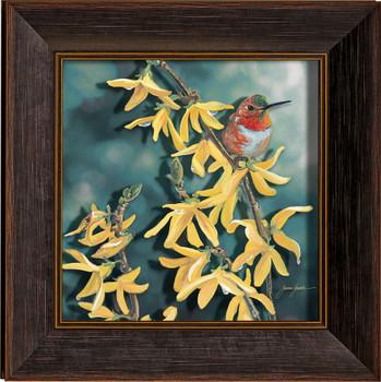 Raindrops Keep Falling on My Head Rufous Hummingbird Framed Illusions Art Print Wall Art with Walnut Wood Frame