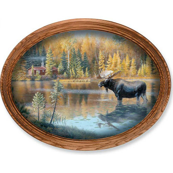 The Loner Moose Oak Framed Oval Canvas Giclee Art Print Wall Art
