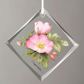 Double Pink Roses Diamond Shape Glass Christmas Tree Ornaments, Set of 6