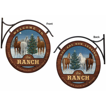 Welcome to the Ranch You Are Now Leaving Horses Double Sided Hanging Metal Sign
