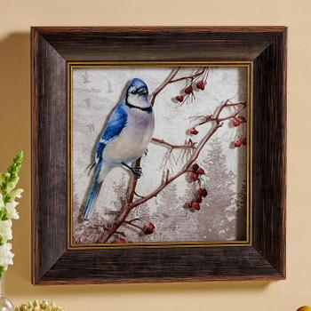 Blues Brothers Bluejay Bird Framed Illusions Art Print Wall Art with Walnut Wood Frame