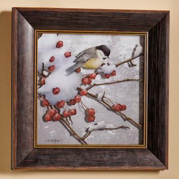 Winter Feast Chickadee Bird Framed Illusions Art Print Wall Art with Walnut Wood Frame