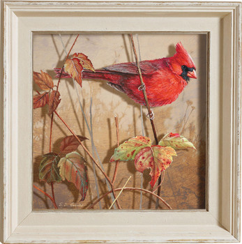 Fall Brilliance Male Cardinal Bird Framed Illusions Art Print Wall Art with Cream Colored Wood Frame