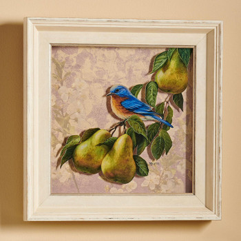 Orchard Visitor Bluebird and Pears Framed Illusions Art Print Wall Art with Cream Colored Wood Frame