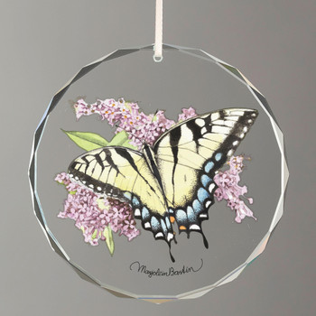 Tiger Swallowtail Butterfly Round Glass Christmas Tree Ornaments, Set of 6