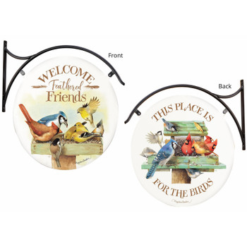 Welcome Feathered Friends This Place is For the Birds Double Sided Hanging Metal Sign