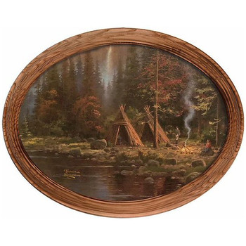 The Mountains Declare His Glory Campsite Oak Framed Oval Canvas Giclee Art Print Wall Art