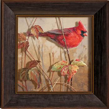 Fall Brilliance Male Cardinal Bird Framed Illusions Art Print Wall Art with Walnut Wood Frame