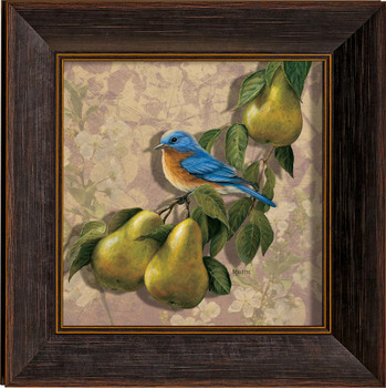 Orchard Visitor Bluebird and Pears Framed Illusions Art Print Wall Art with Walnut Wood Frame