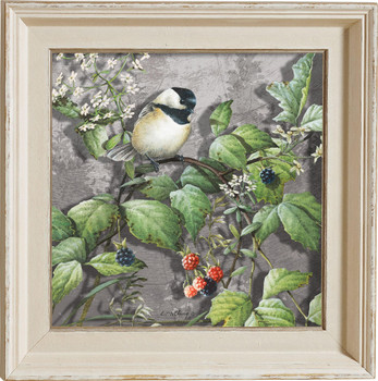 Blossoms and Berries Chickadee Bird Framed Illusions Art Print Wall Art with Cream Colored Wood Frame