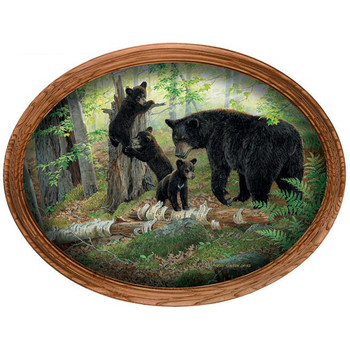 Playtime Black Bears Oak Framed Oval Canvas Giclee Art Print Wall Art