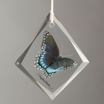 Red Spotted Purple Butterfly Tear Drop Glass Christmas Tree Ornaments, Set of 6