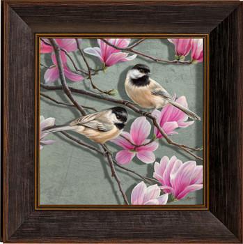 Chickadee Birds and Magnolias Framed Illusions Art Print Wall Art with Walnut Wood Frame
