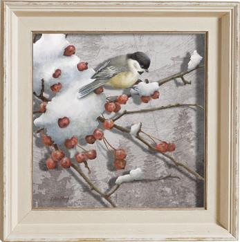 Winter Feast Chickadee Bird Framed Illusions Art Print Wall Art with Cream Colored Wood Frame