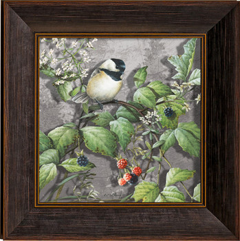 Blossoms and Berries Chickadee Bird Framed Illusions Art Print Wall Art with Walnut Wood Frame