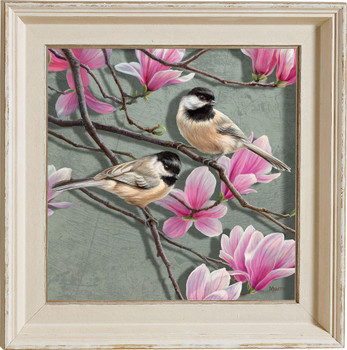 Chickadee Birds and Magnolias Framed Illusions Art Print Wall Art with Cream Colored Wood Frame