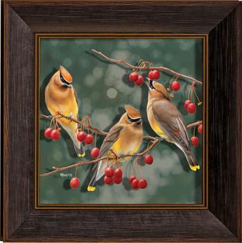 Crabapple Bandits Cedar Waxwing Birds I Framed Illusions Art Print Wall Art with Walnut Wood Frame