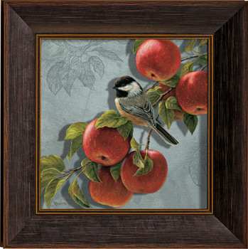 Orchard Visitor Chickadee Bird and Apples Framed Illusions Art Print Wall Art with Walnut Wood Frame