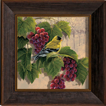 Orchard Visitor Goldfinch Bird and Grapes Framed Illusions Art Print Wall Art with Walnut Wood Frame