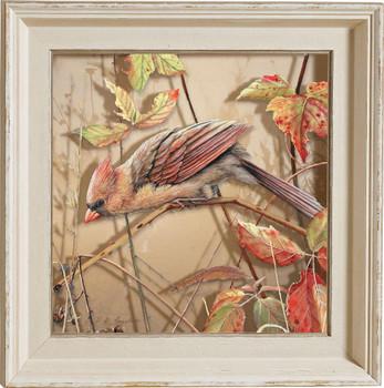Fall Brilliance Female Cardinal Bird Framed Illusions Art Print Wall Art with Cream Colored Wood Frame