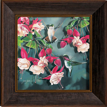 Nature's Ballet Dancers Ruby Throated Hummingbirds Framed Illusions Art Print Wall Art with Walnut Wood Frame