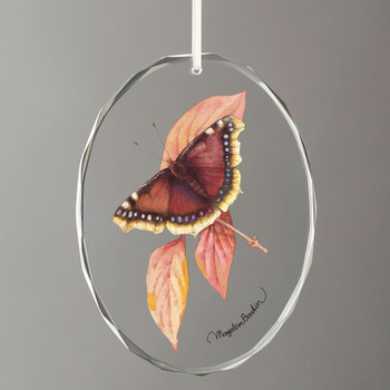 Mourning Cloak Butterfly Oval Glass Christmas Tree Ornaments, Set of 6