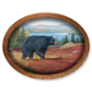Pine Ridge Black Bear Oak Framed Oval Canvas Giclee Art Print Wall Art