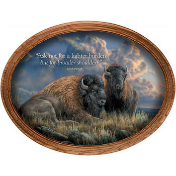 Distant Thunder Bison Oak Framed Oval Canvas Giclee Art Print Wall Art