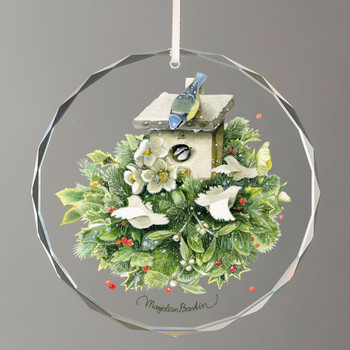 Favorite Christmas Bouquet Birdhouse with Birds Round Glass Christmas Tree Ornaments, Set of 6