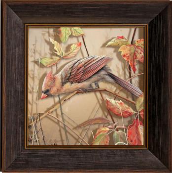 Fall Brilliance Female Cardinal Bird Framed Illusions Art Print Wall Art with Walnut Wood Frame