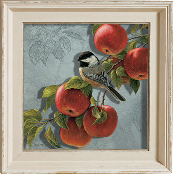 Orchard Visitor Chickadee Bird and Apples Framed Illusions Art Print Wall Art with Cream Colored Wood Frame