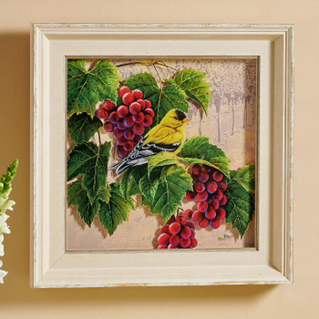 Orchard Visitor Goldfinch Bird and Grapes Framed Illusions Art Print Wall Art with Cream Colored Wood Frame
