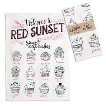 Red Sunset Cotton Tea Towels, Set of 4