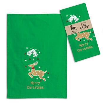 Merry Christmas Reindeer Cotton Tea Towels, Set of 4