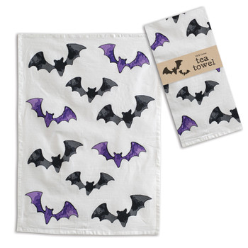 Halloween Black and Purple Bats Cotton Tea Towels, Set of 4