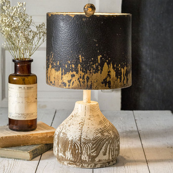 Wood Base Table Lamp with Metal Shade