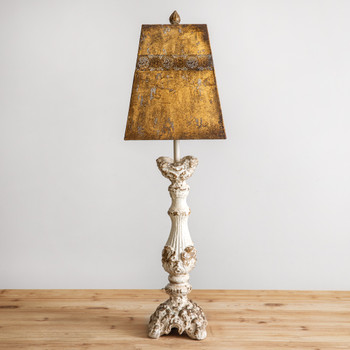 Isabelle Wood Table Lamp with Metal Shade
