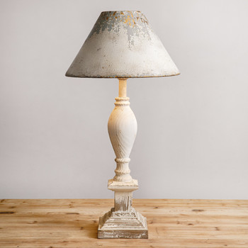 Farmhouse Wood Table Lamp with Metal Shade