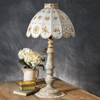 Metal Base Table Lamp with Decorative Metal Shade