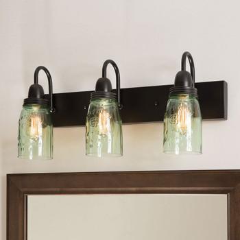 Metal and Glass Mason Jar Three Light Vanity Light