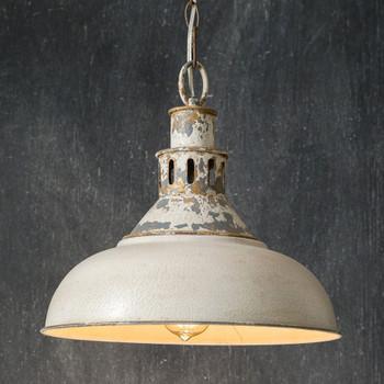 Distressed White Barn Metal Pendant Light