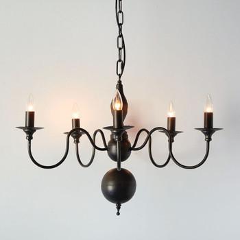 Five Arm Colonial Metal Pendant Light