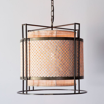 Nomad Drum Metal and Wicker Pendant Light