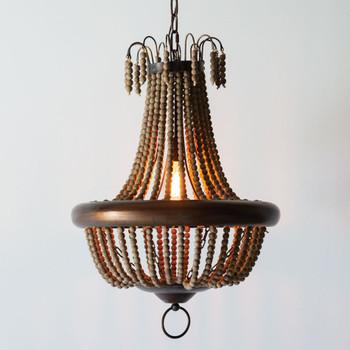 Milos Wood Bead Pendant Light
