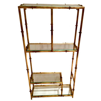 Antique Gold Four Shelf Iron and Glass Wall Curio