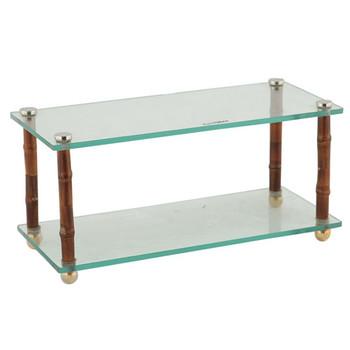 Bamboo Glass Two Tier Standing Storage Shelf